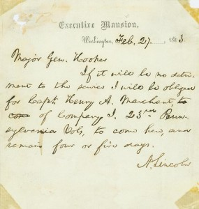 Abraham Lincoln to Joseph Hooker