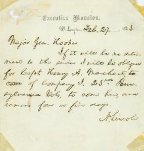 Abraham Lincoln to Joseph Hooker